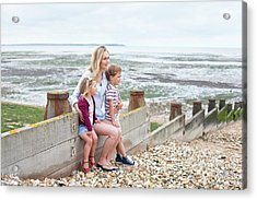 Mother With Children On Beach Acrylic Print by Ian Hooton