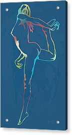 Nude Dancing Pop Stylised Art Poster Acrylic Print by Kim Wang