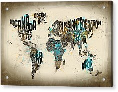 Paint Splashes Text Map Of The World Acrylic Print by Michael Tompsett