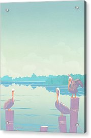 Abstract Pelicans Tropical Florida Seascape Large Pop Art Nouveau 80s 1980s Stylized Painting Acrylic Print by Walt Curlee