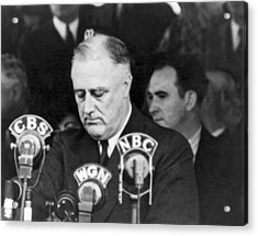 President Franklin Roosevelt Acrylic Print by Underwood Archives