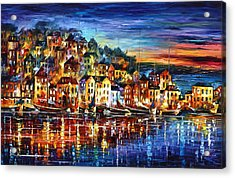 Quiet Town Acrylic Print by Leonid Afremov