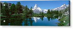 Reflection Of A Mountain In A Lake Acrylic Print by Panoramic Images