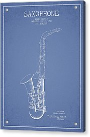 Saxophone Patent Drawing From 1937 - Light Blue Acrylic Print by Aged Pixel