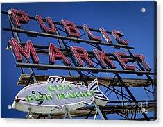 Seattle Market Sign Acrylic Print by Brian Jannsen