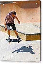 Skateboarding Acrylic Print by Paul Fell