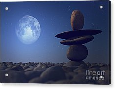 Stacked Stones In Moonlight Acrylic Print by Aleksey Tugolukov