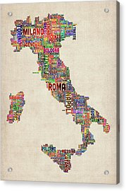 Text Map Of Italy Map Acrylic Print by Michael Tompsett