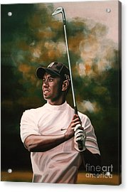 Tiger Woods  Acrylic Print by Paul Meijering