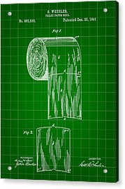 Toilet Paper Roll Patent 1891 - Green Acrylic Print by Stephen Younts