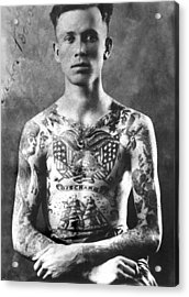 Vintage Tattoo Photograph And Flash Art Acrylic Print by Larry Mora
