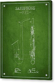Saxophone Patent Drawing From 1899 - Green Acrylic Print by Aged Pixel