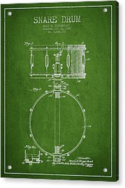Snare Drum Patent Drawing From 1939 - Green Acrylic Print by Aged Pixel