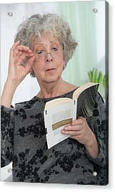 Woman Reading A Book Acrylic Print by Lea Paterson