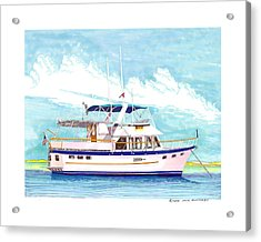 37 Foot Marine Trader 37 Trawler Yacht At Anchor Acrylic Print by Jack Pumphrey