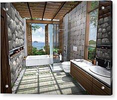 3d Tropical Bathroom Acrylic Print by Thanes
