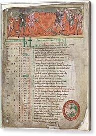 Anglo-saxon Calendar Acrylic Print by British Library