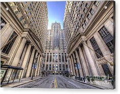 Lasalle Street In Chicago Acrylic Print by Twenty Two North Photography