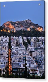 Lycabettus Hill During Dusk Time Acrylic Print by George Atsametakis