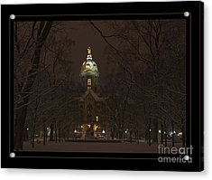Notre Dame Golden Dome Snow Poster Acrylic Print by John Stephens
