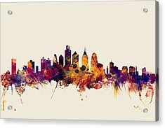 Philadelphia Pennsylvania Skyline Acrylic Print by Michael Tompsett