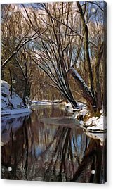 River In Winter Acrylic Print by Pat Now