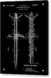 Rocket Patent 1953 - Black Acrylic Print by Stephen Younts