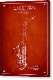 Saxophone Patent Drawing From 1937 - Red Acrylic Print by Aged Pixel