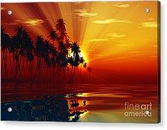 Sun Rays Inside Coconut Palms Acrylic Print by Aleksey Tugolukov