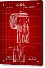 Toilet Paper Roll Patent 1891 - Red Acrylic Print by Stephen Younts