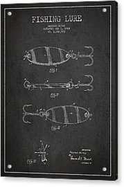 Vintage Fishing Lure Patent Drawing From 1964 Acrylic Print by Aged Pixel