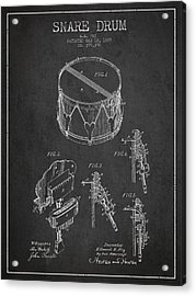 Vintage Snare Drum Patent Drawing From 1889 - Dark Acrylic Print by Aged Pixel