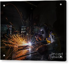 Worker Welding  Acrylic Print by Anek Suwannaphoom