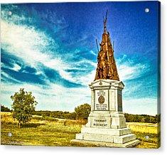 42nd New York Infantry Memorial Gettysburg Battleground Acrylic Print by Bob and Nadine Johnston