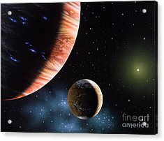 47 Ursae Majoris B And Moon Acrylic Print by Lynette Cook
