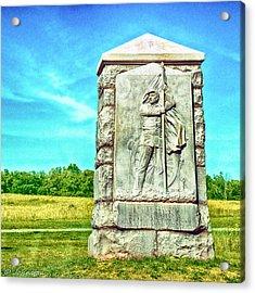 4th Michigan Infantry Memorial Gettysburg Battleground Acrylic Print by Bob and Nadine Johnston