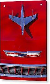 1955 Chevrolet Belair Nomad Hood Ornament Acrylic Print by Jill Reger