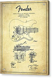 Fender Tremolo Device Patent Drawing From 1956 Acrylic Print by Aged Pixel