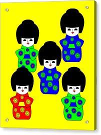 5 Japanese Dolls On Yellow Acrylic Print by Asbjorn Lonvig