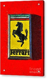 Painting Of Ferrari Badge Acrylic Print by George Atsametakis