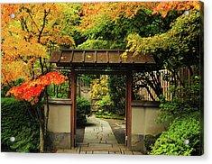 Portland Japanese Garden In Autumn Acrylic Print by Michel Hersen