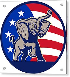 Republican Elephant Mascot Usa Flag Acrylic Print by Aloysius Patrimonio