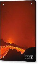 River Of Molten Lava Flowing To The Sea Acrylic Print by Sami Sarkis