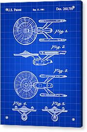 Star Trek Uss Enterprise Toy Patent 1981 - Blue Acrylic Print by Stephen Younts