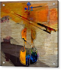 Violin And Bow Acrylic Print by Marvin Blaine