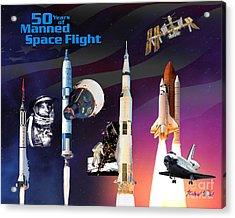 50 Years Of Manned Space Flight Acrylic Print by Richard Beard