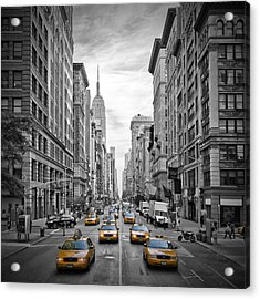 5th Avenue Yellow Cabs Acrylic Print by Melanie Viola