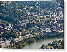 aerials of WVVU campus Acrylic Print by Dan Friend