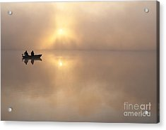 Fisherman In Boat, Lake Cassidy Acrylic Print by Jim Corwin