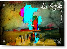Los Angeles Map And Skyline Acrylic Print by Marvin Blaine